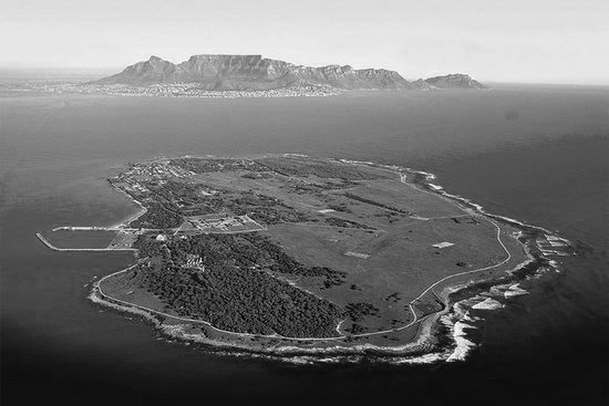 Robben Island with Table Mountain in the background.