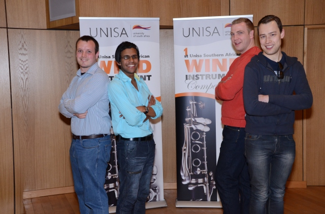 Wind finalists, Pictured from left to right Matthew Lombard, Myles Roberts, Cobus du Toit and Justin Carter